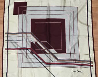 Vintage Pierre Cardin Silk Scarf rolled and hand stitched edges