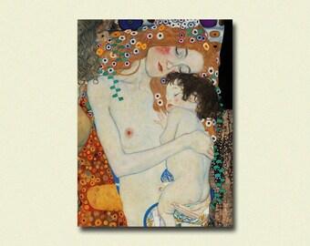 Gustav Klimt Art Print - Mother and Child - Klimt Prints Klimt Reproduction Gift Idea Art Reproduction Nursery Decor  sm