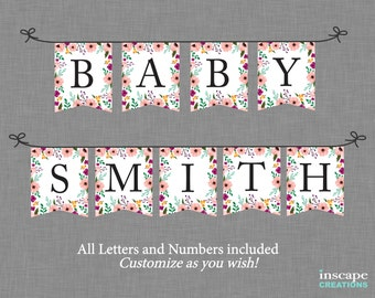 Baby Shower Banner Printable ALL Letters Numbers Rustic Floral Chair Elegant