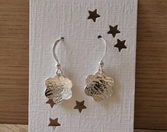 Flower drop earrings in sterling silver