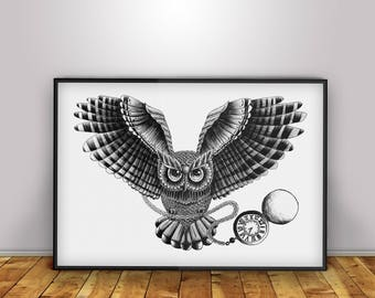 Owl - Digital Print - Home Decor - Wall Art - Poster - Illustration - Gift - Present