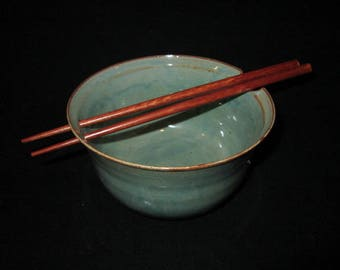 noodle bowl with chopsticks in light green, stoneware pottery, food and dishwasher safe