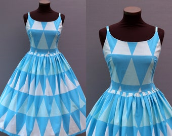 1950s Style Turquoise Harlequin Print Full Skirt Cotton Dress