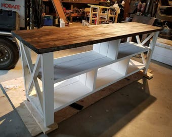 Farmhouse Entertainment Center - Open Shelving -X Degisn TV Stand- Rustic TV Stand-TV Entertaiment Stand