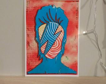 Ziggy Stardust Woodcut Print