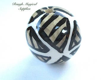 Huge Tribal Bead, 30mm Sphere, Glazed Ceramic Ball, Black Tan Ivory Cream, Abstract Ethnic Pattern, High Quality Vintage Bead SP796