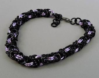 Byzantine Bracelet, Chainmail Bracelet Lavender & Black Chainmaille Bracelet, Goth Jewelry, Chain Mail Jewelry