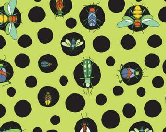 Kids cotton fabric American - Blend Fabrics designer Jone Hallmark - insects green background - 50 cm (110 x)