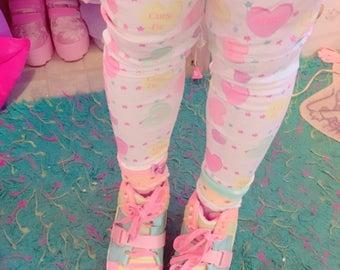 Conversation Candy Heart Winter Leggings, Fairy Kei Leggings, Convo Hearts Tights, Candy Heart Leggings