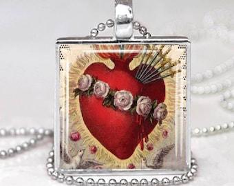 Catholic  Immaculate  Heart Glass Tile Pendant Necklace Catholic Devotion Jewelry