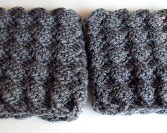 Crocheted Boot Cuffs, Boot Socks, Leg Warmers, Women's Boot Cuffs- Gray, Scalloped Top- Gray