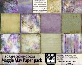 Digital scrapbook Papers CU ok . 12 papers MAGGIE MAY delightful mix of colors  . Matching embellishments pack also available in the store-