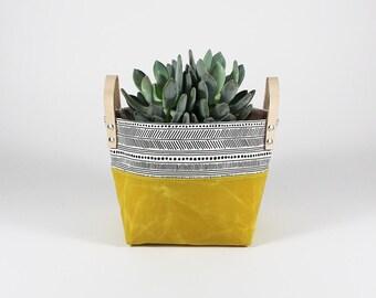 Waxed Canvas Basket, Home Decor, Nursery Decor, Storage Basket, Entryway Organizer, Bathroom Storage, Makeup Brush Holder, Fruit Basket