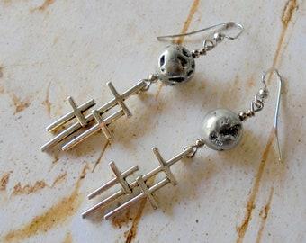 Silver Trinity Cross Earrings (4382)