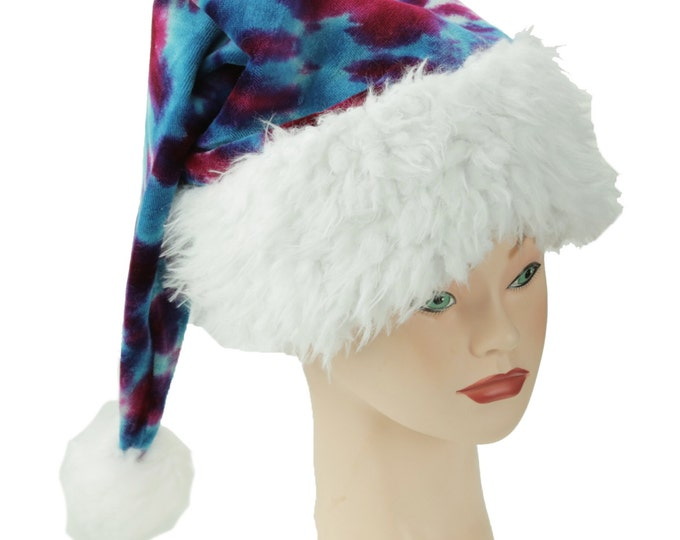 Featured listing image: Tie Dye Santa Hat, Pink and Teal Winter Hat, Trippy Christmas Cap, Psychedelic Holiday Hat
