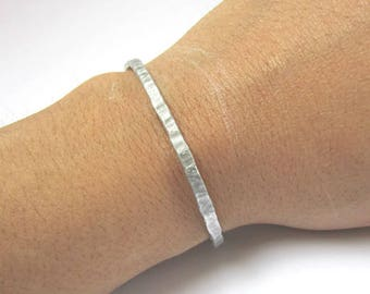 Aluminum Stacking Bangle, Thin Stackable Bracelet, Everyday Bracelet for Women, 10 Year Anniversary Gift for Wife, Delicate Birthday Gift