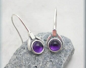 Purple Amethyst Earrings, Gemstone Jewelry, February Birthstone Earrings, Sterling Silver, February Gift for Her, Cabochon Earrings