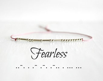 Fearless Morse Code Bracelet Inspiration Motivational Jewelry Valentines Day Gift Minimalist Silk Cord  Sterling Silver Beaded Bracelet