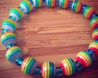 Rainbow pride bracelet, acrylic on elastic