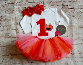 Elmo Birthday outfit- with shirt and headband and tutu, elmo birthday party ,Custom Birthday Elmo Shirt