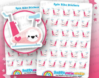 30 Cute Spin Bike/Spinning/Cycling/Gym/Exercise/Work Out Planner Stickers, Filofax, Erin Condren, Happy Planner,  Kawaii, Cute Sticker, UK