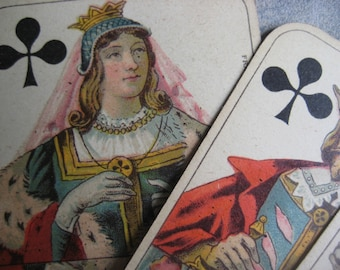 Vintage French playing cards, card deck