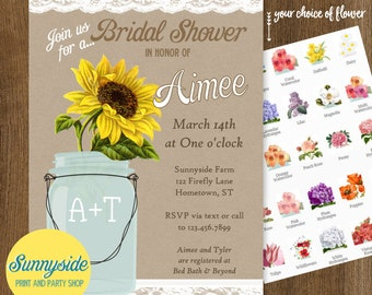Country Sunflower Mason Jar Invitation, Kraft Burlap and Lace Bridal Shower or Wedding Shower invite, printable or printed, vintage, rustic
