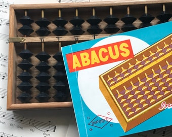Vintage Wooden Abacus With Instruction Booklet Japan