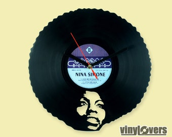 Nina Simone jazz soul wall clock from vinyl record afro unique
