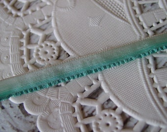 Antique Silk Ruffle Edge ribbon from 1900s-1920s, turquoise blue ombre, New Old Stock, one yard