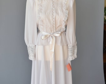 1980s Does 20s - 2 Piece Wedding Dress in White Pale Lilac