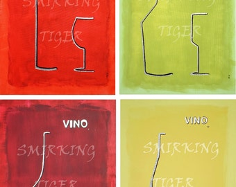 Wine Art Set of 2: Pick any 2 Colorful Wine Art Prints, 11X14