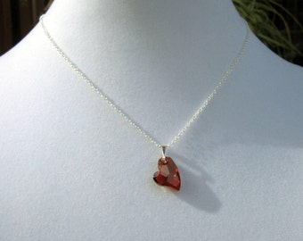 Swarovski Red Magma Devoted 2 U Heart Crystal Pendant Sterling Silver