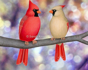 cardinals on a branch - bokeh - signed art print 8X10 inches by Sarah Knight, red beige birds colorful violet purple blue dots