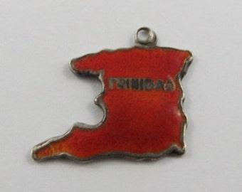 Map of Trinidad With Orange Enamel Sterling Silver Vintage Charm For Bracelet