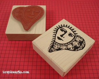 Moon Heart Face Stamp / Invoke Arts Collage Rubber Stamps