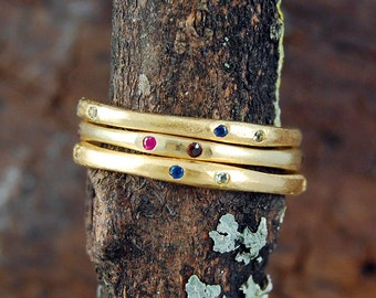 Stapelbar Ring, Ringe, Birthstone Ring, Edelstein Stacking Ring, Edelstein-Ring, Gold Ring, Bio-Ring, einfache Ring, dünnen Ring, Designer-Ring