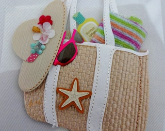 Beach bag, hat and sunglasses - die cut embellishment.  Scrapbooking, card-making and paper crafting projects.