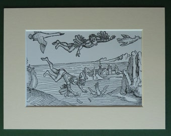 Vintage Science Fiction Matted Print - Flight - Sci-Fi - Flying - Icarus - Birds - Woodcut - Black & White - Medieval Picture