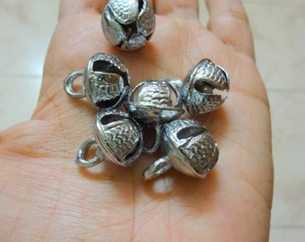Indian Brass Bell, Metal Bells, Gypsy Bells - With Silver Polish - 20 pcs  17mm