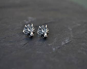 Wolf Stud Earrings, Cloud Wolf Jewelry, Sterling Silver Wolf, Final Fantasy Cloud Wolf Fenrir Jewelry