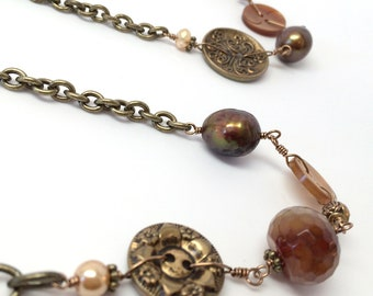 Triple Wrap Button Necklace: Metallic and  Brown Buttons with Beads on Bronze Chain