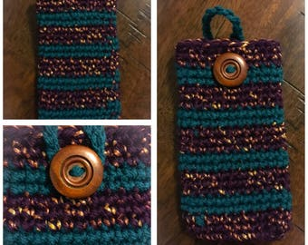 Teal & Purple Cell Phone Case with gold fleck and a wooden button