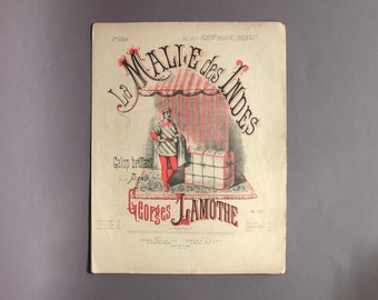 Piano Partition Sheet La Malle des Indes Paris 1900 - French Musical Scores Collection - French Ephemera - Engraving Collection