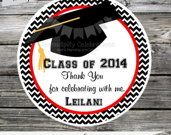 Set of 12 Personalized Favor Tags -Graduation-Class of-Thank You Tag -Gift Tag -Baby Shower -Birthday-Sticker-College-High School-Pick Color
