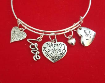 Silver Anniversary Themed Charm Bracelet