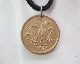 Norway Coin Necklace, 2 Ore, Bird Pendant, Coin Pendant, Leather Cord, Men's Necklace, Women's Necklace, 1964