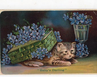 vintage postcard, Precious Kitten under box, forget me nots, Cats antique postcard