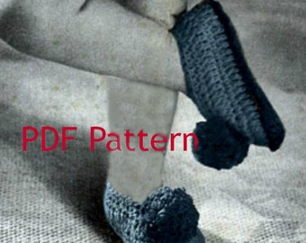 Crochet Classic Childs Slippers Pattern Vintage 1941