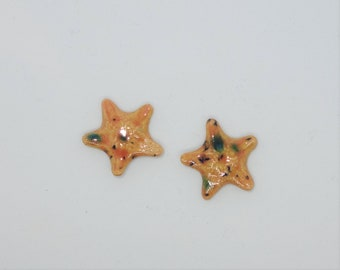 Handmade Ceramic Cabochons Earthenware small tiny pair Starfish orange peach teal